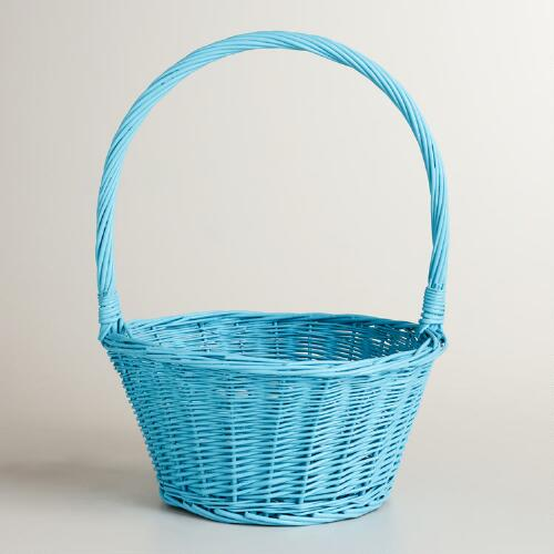 Blue Ellie Willow Basket with Handle