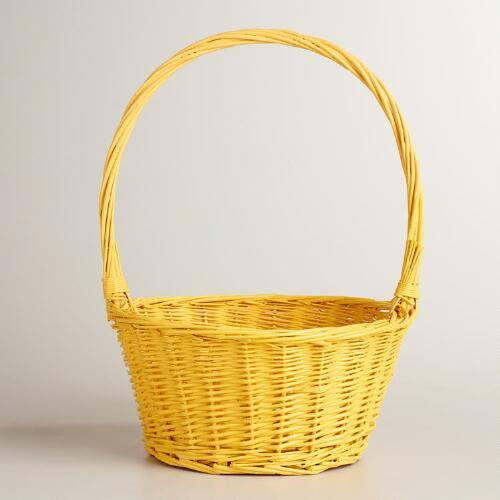 Yellow Ellie Willow Basket with Handle