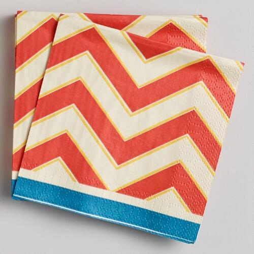 Chevron Stripe Beverage Napkins, 16-Count
