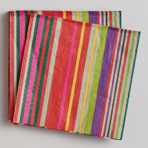 Cabo Stripe Beverage Napkins, 16-Count