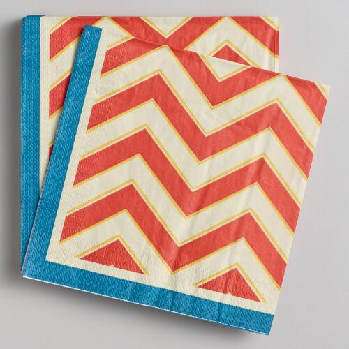 Chevron Stripe Lunch Napkins, 16-Count