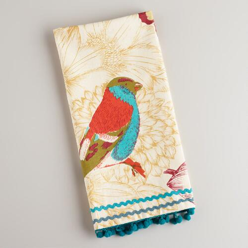 Printed Bird with Pom Poms Tea Towel
