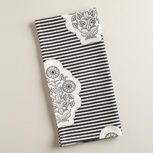 Black and White Striped Bhuti Kitchen Towel