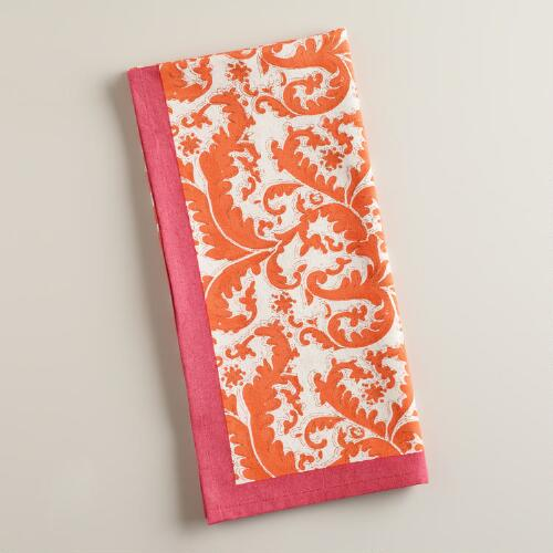 Orange and Pink Damask Print Kitchen Towel