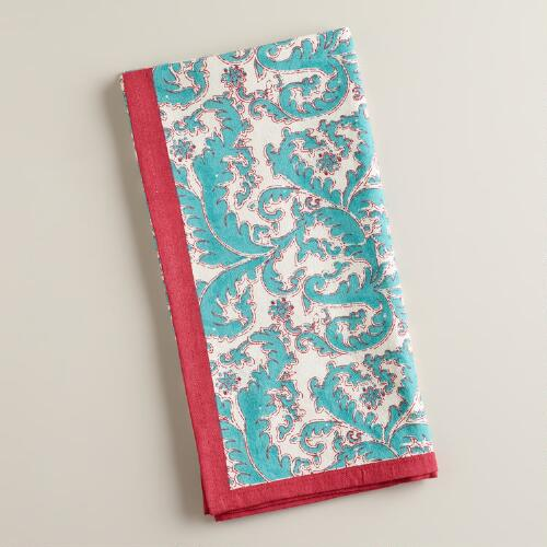 Blue and Pink Damask Print Kitchen Towel