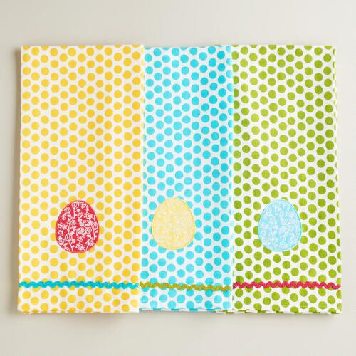 Spring Dotted Egg Kitchen Towels, Set of 3