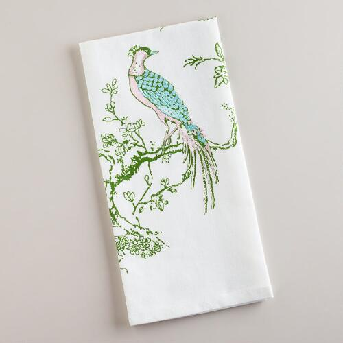 Embroidered Victorian Birdie Kitchen Towel