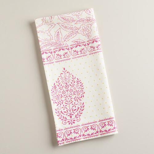 Pink and Orange Overlay Block Print Kitchen Towel
