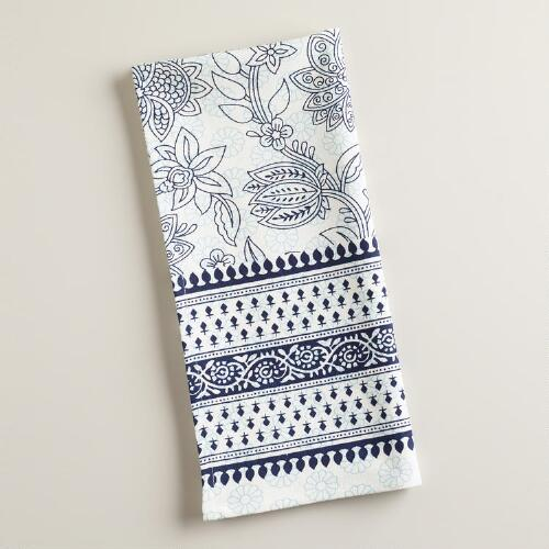 Navy Overlay Block Print Kitchen Towel