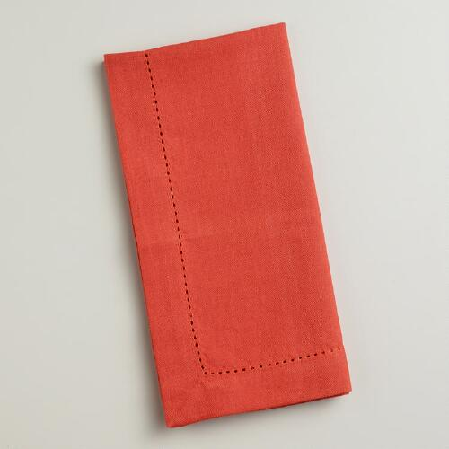 Persimmon Hemstitch Napkins, Set of 4
