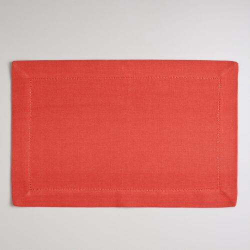 Persimmon Hemstitch Placemats, Set of 4