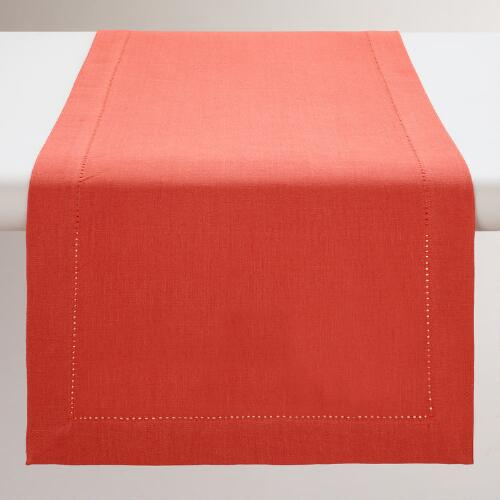 Persimmon Hemstitch Table Runner