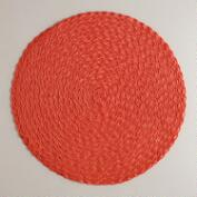 Summer Orange Round Braided Placemats, Set of 4