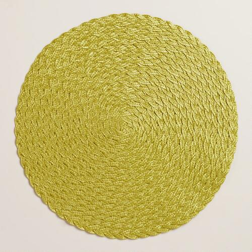Oasis Green Round Braided Placemats, Set of 4