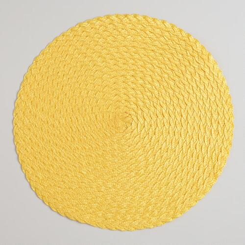 Solar Yellow Round Braided Placemats, Set of 4