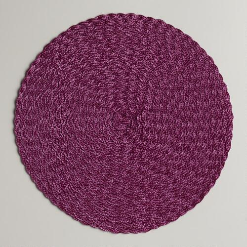 Violet Round Braided Placemat, Set of 4