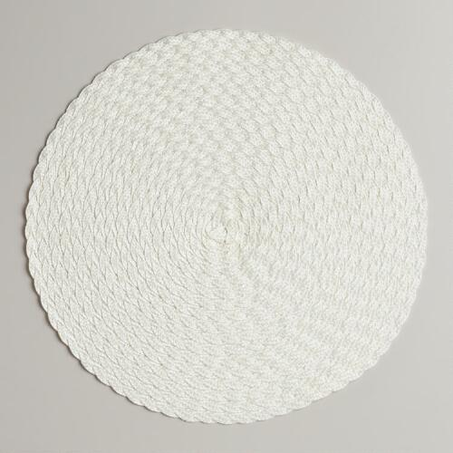Off-White Round Braided Placemats, Set of 4