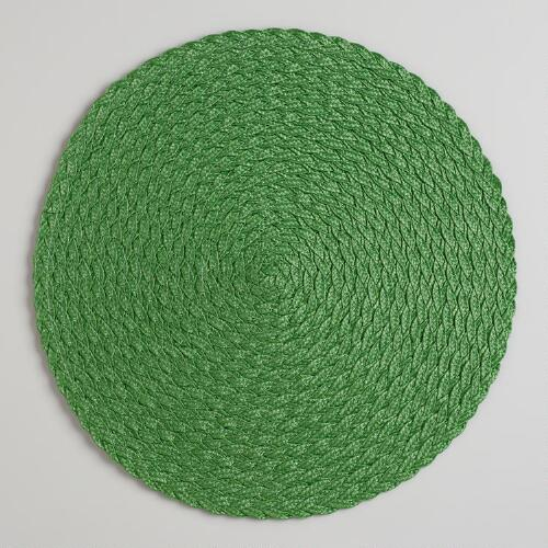 Grass Green Round Braided Placemats, Set of 4