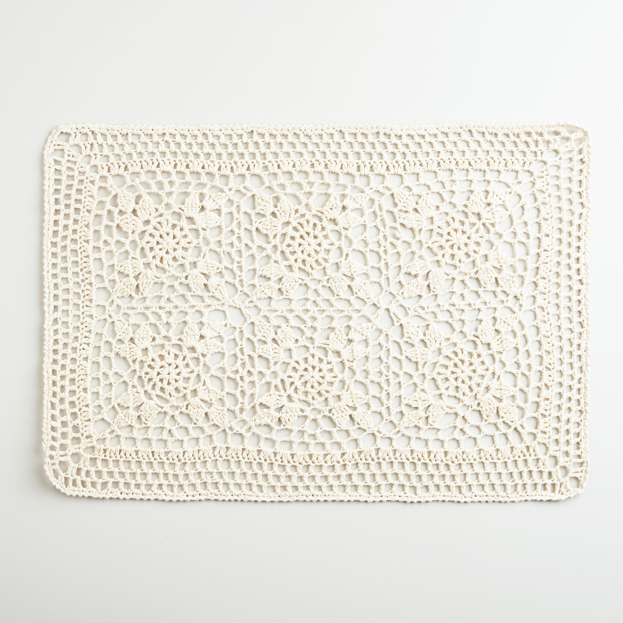 Ecru Cotton Crochet Placemats, Set of 4 World Market