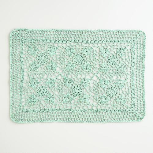Porcelain Cotton Crochet Placemats, Set of 4