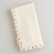 Ecru Crochet Trim Napkins, Set of 4
