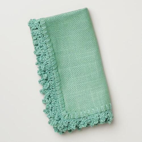 Porcelain Crochet Trim Napkins, Set of 4