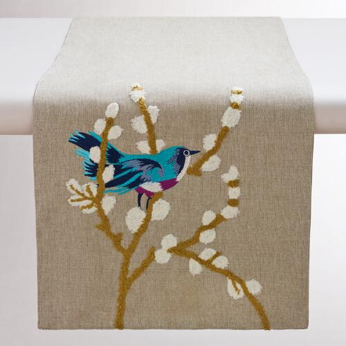 Embroidered-Bird Table Runner
