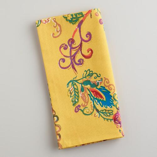 Yellow Antigua Floral Napkins, Set of 4