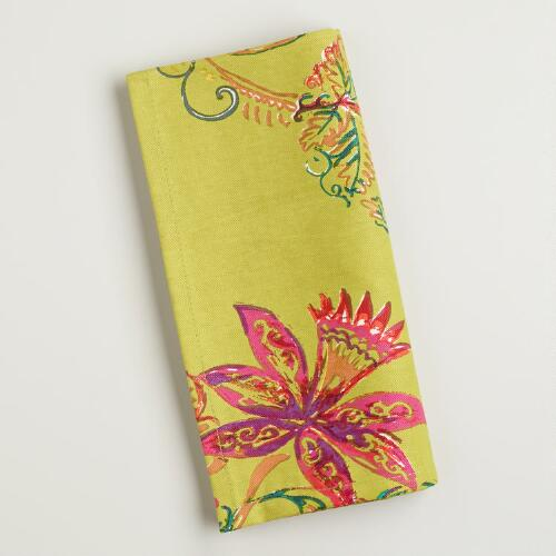 Green Antigua Floral Napkins, Set of 4