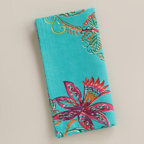 Aqua Antigua Floral Napkins, Set of 4