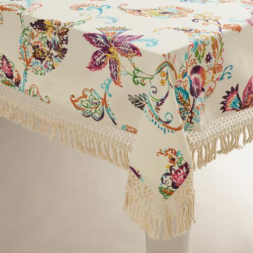 Antigua Floral Fringed Tablecloth