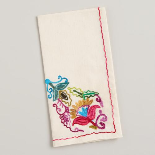 Antigua Embroidered Floral Napkins, Set of 4