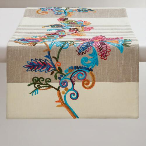 Antigua Embroidered Floral Striped Table Runner
