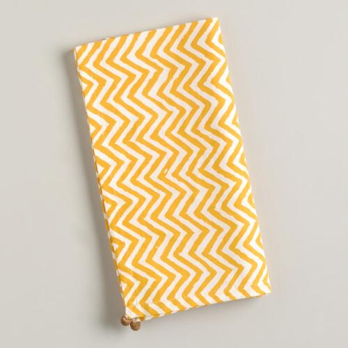 Yellow Chevron Napkins, Set of 4