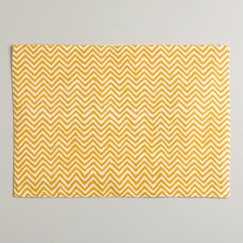 Yellow Chevron Placemats, Set of 4