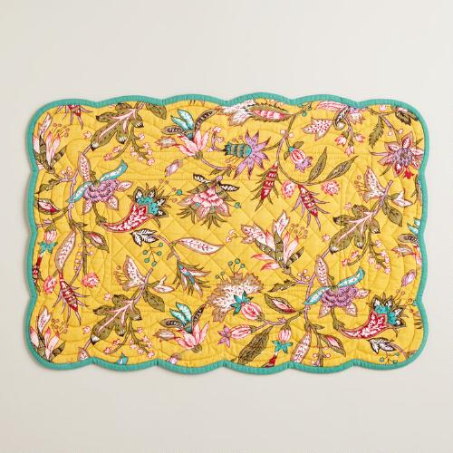 Quilted Sundance Floral Reversible Placemats, Set of 4