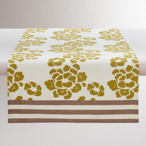 Green Lotus Striped Table Runner