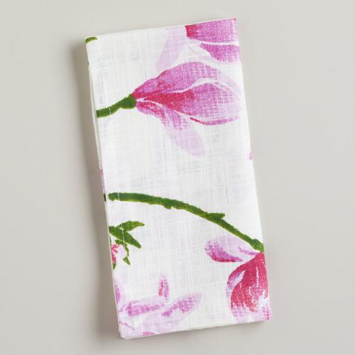 Magnolia Floral Napkins, Set of 4