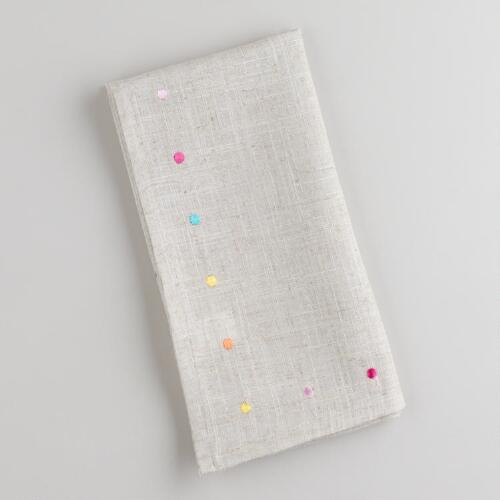 Multicolored Embroidered Dot Napkins, Set of 4