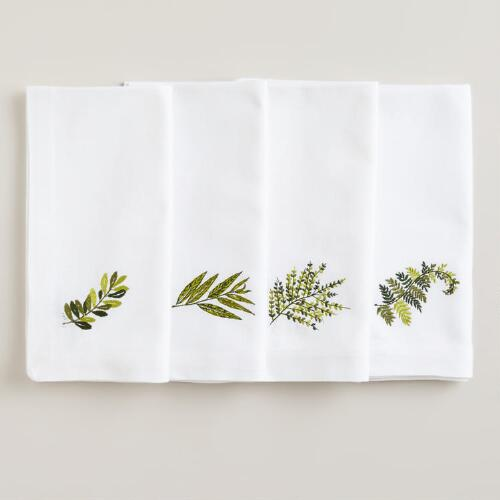 Botanical Embroidered Napkins, Set of 4