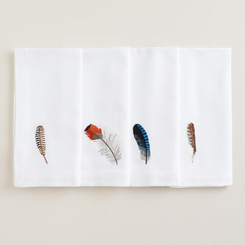 Feather Embroidered Napkins, Set of 4