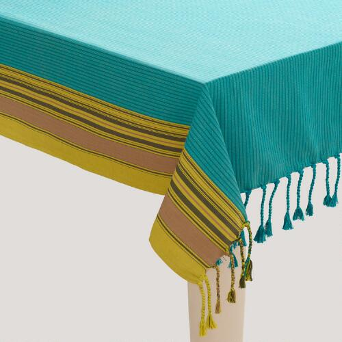 Cool Woven Stripe Fringed Tablecloth