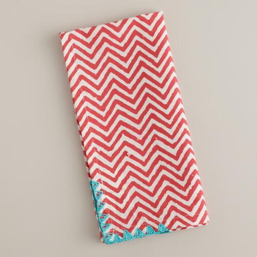 Red with Blue Trim Chevron Napkins, Set of 4