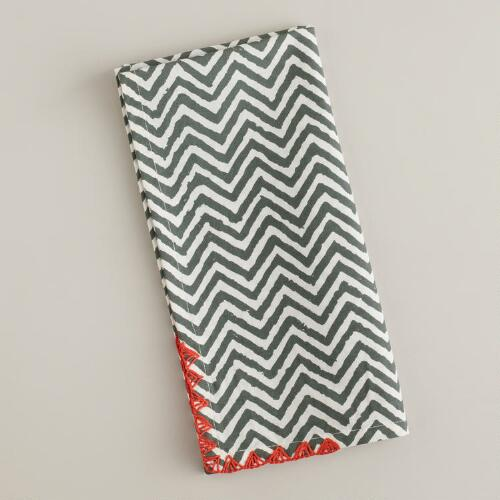Gray with Red Trim Chevron Napkins, Set of 4