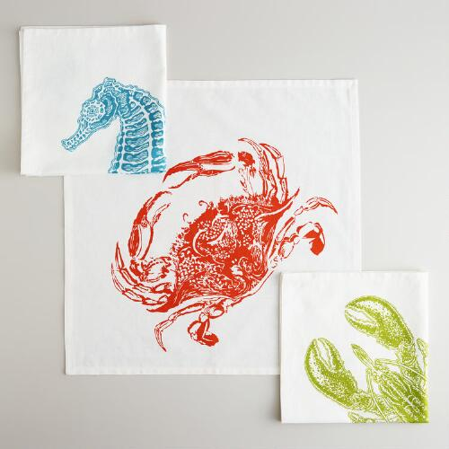 Oversized Sea Life Napkins, Set of 3
