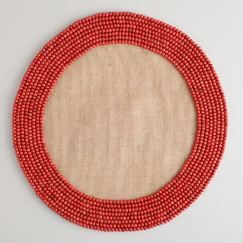 Orange Beaded Jute Placemats, Set of 4