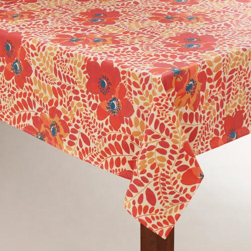 Seaweed Floral Oilcloth Tablecloth
