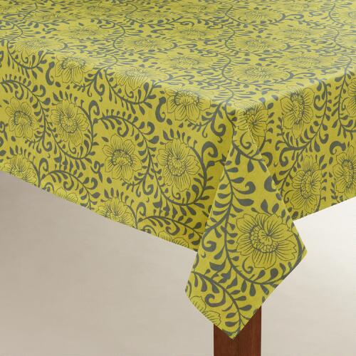 Green Floral Donna Oilcloth Tablecloth