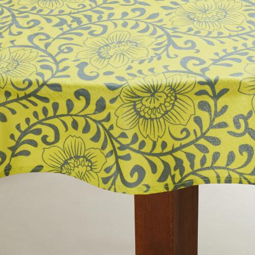 Round Donna Green Floral Oilcloth Tablecloth