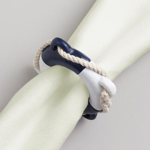 Navy Nautical Buoy Napkin Rings, Set of 4